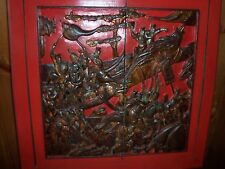 RARE  VINTAGE CARVED CHINESE PANELS DEPICTING SEVERAL SCENES -Ching Dynasty
