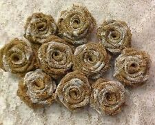 Hessian Lace Roses Handmade Wedding Table Decorations Vintage Shabby Chic x 20