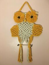 New listing Cape Coral Burrowing Owl macrame wall decor Yellow White Color 100% Natural Cord