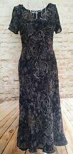 Marks And Spencer M&S Dress Size 14 Black White Floral Short Sleeve Midi Length