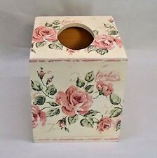 Made To Order, Handmade Decoupage Wood Tissue Box, Vintage Rose, Shabby Chic