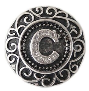 Silver Plated Rhinestone Monogram Letter C 20mm Snap Charm For Ginger Snaps
