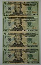 2004-A 4 Subject Uncut $20 Sheet of Notes *GA-Star* Block