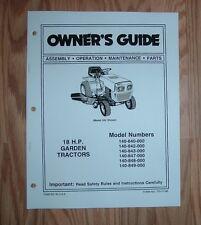 MTD 849 18 HP GARDEN TRACTOR OWNER OPERATOR MANUAL