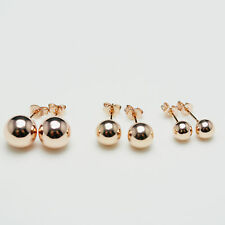 Shiny Rose Gold/925 Sterling Silver PLATED Frosted/Smooth Ball Stud Earrings UK