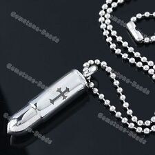 """Men's Necklace Army Style 19""""L Stainless Steel Carved Cross Bullet Pendant"""