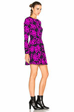 $560 Tanya Taylor Ali Fuchsia Bouquet Print Long Sleeve Mini Dress.SZ:12