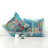 "Indian Patchwork Pillow Case Throw Handmade Bohemian Cushion Cover 16 X 16"" 2 Pc"