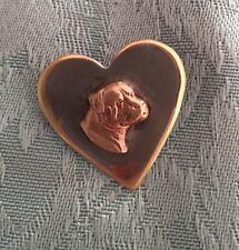 More details for charming  vintage heart ❣i  love  mastiff ,bullmastiff molosser dog brooch pin