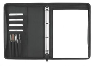 Ringbuchmappe A4 mit Reißverschluss – Polyester schwarz excl. Marke EuroStyle
