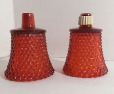 2 Red Hobnail Votive Candle Cups