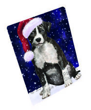 Christmas American Staffordshire Terrier Dog Tempered Cutting Board Large Db342