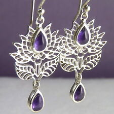 Jali LOTUS SilverSari Drop Earrings Solid 925 Sterling Silver + AMETHYST