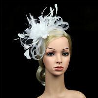 Women Fascinators Hat Feather Flower Hair Clip Cocktail Party Headband Headwear