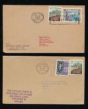 STAMP DEALERS CEYLON 1955 + 1956 ENVS to TEXAS + LA USA + SLOGAN CANCELS 2 ITEMS
