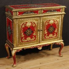 Credenza laccata mobile italiano in legno dorato stile antico 2 ante comò 900