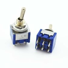 2Pcs 6 Pin 3 Position ON-OFF-ON DPDT Mini Latching Toggle Switch AC 125V/6A 250