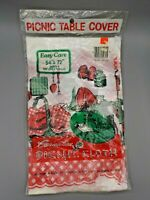 Unused Vintage Plastic Picnic Table Cloth Tablecloth BBQ Carnation Retro Red