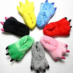 Animal Monster Feet Slippers Men Women Claw Kigurumi Dinosaur Paw Plush Shoes
