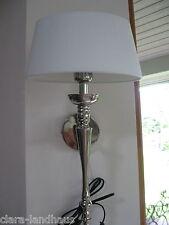 Edle Wandlampe Landhaus Shabby Vintage Wandleuchte weiß Leinen Chrom silber