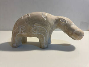 HIPPOPOTAMUS Figurine Carved Stone Heavy Paperweight Jungle Hippo Statue