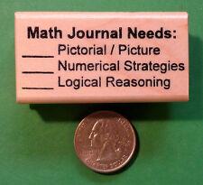 Math Journal Needs - Wood Mounted Teacher's Rubber Stamp