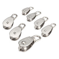 1PCS Stainless Steel Single/Double Wheel Swivel Pulley Rope Pulley Lift Tool