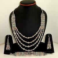 Necklace bracelet earrings natural rose quartz gemstone handmade beaded jewelry