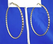 "Large Stainless Steel Gold Tone Twisted Wire Hoop Earrings, 2.5"", 60mm"