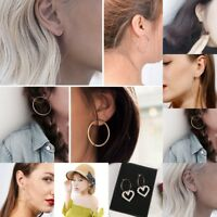 Fashion Gold Silver Big Circle Smooth Large Ring Hoop Earrings Women Jewelry