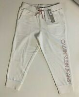 Calvin Klein GIRLS LOGO CAPRI FRENCH TERRY SWEATPANTS BIG KIDS WHITE/PINK $35.99