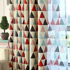 Modern Triangle Window Curtain Drape Screen Sheer Valance Blackout Voile Red