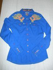 Roar Ladies Coral Bonfire Snap Front Crystal Embellished Long Sleeve Shirt SZ L