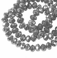 Metallic Antique Silver Faceted 6mm Rondelle Beads 90 Piece Crystal Beads