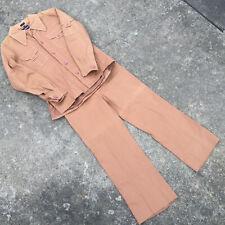Vintage 60s 70s Atomic Mod Hippy Disco Dance Hollywood 2 Piece Suit Jacket Pants