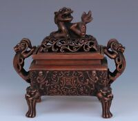 Chinese Exquisite hand-carved brave troops carving copper incense burner