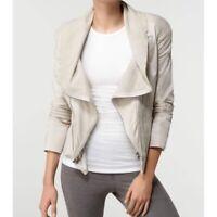 Alice + Olivia Designer Leather Cotton Ribbed Moto Zip Jacket Neutral Cream XS