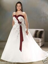 Plus Size White and Red Embroidery Wedding Dresses Formal Bridal Gowns Pageant