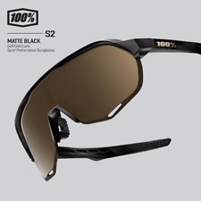 100% Percent Cycling S2 Sunglasses - Matte Black - Soft Gold Lens