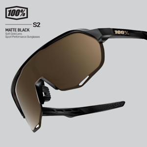 100% Percent Cycling S2 Sunglasses - Matte Black - Soft Gold Lens