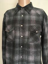PENDLETON PEARL SNAP VIRGIN WOOL WESTERN FLANNEL SHIRT Charcoal SHADOW PLAID L