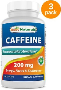 360 Tablets Best Naturals Caffeine Pills 200mg Serving (3 Pack of 120 Tablets)