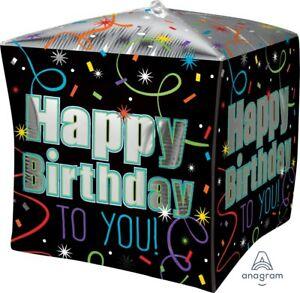 "Lot 5 Happy Birthday 15"" Cubez Anagram helium Balloon Birthday Party Decorations"