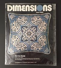 "VTG Dimensions Cross Stitch Kit - 14"" x 14"" #3011 BLUE TILE Pillow 1978 sealed"