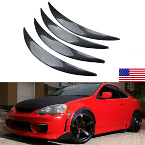 4x Carbon Fiber Style Car Wheel Eyebrow Arch Trim Lips Strip Fender Protector