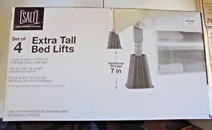 "SALT Black Bed Lifts Set of 4 NEW 7"" Extra Under Bed Storage NEW"