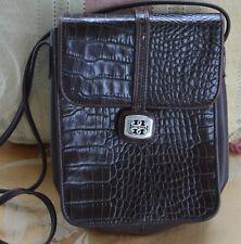 "Brighton ""One World"" Brown Croc Crossbody Handbag, Leather"