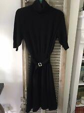 Ralph Lauren 'Rugby' Women's Black Belted Mid Sleeve Polo Neck Skater Dress 10