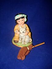 HOMCO INDIAN BOY 1428 SITTING WITH DOG AND BROOM  STICK