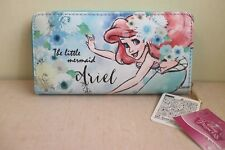 DISNEY LONG WALLET PRINCESS ARIEL LITTLE MERMAID FLOWERS BLUE PURSE JAPAN F/S
